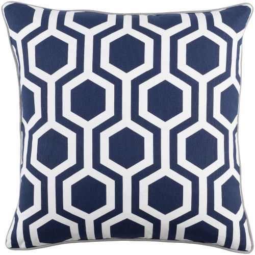 """18"""" Navy Blue and White Hexagonal Pattern Square Woven Throw Pillow Cover with Piping Edge - IMAGE 1"""