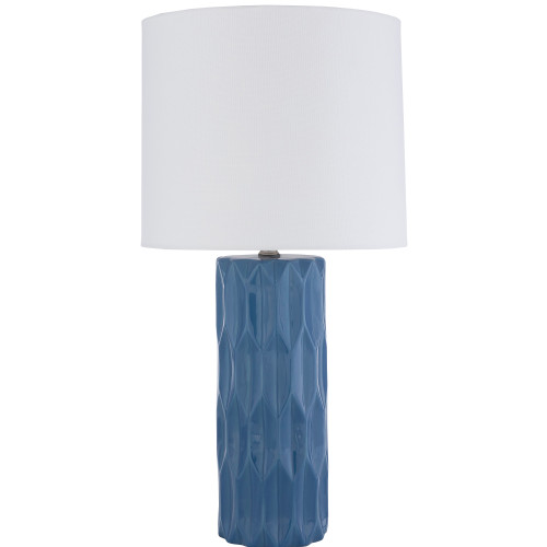 """27"""" Bright Blue Glazed Geometric Ceramic Table Lamp with White Linen Drum Shade - IMAGE 1"""