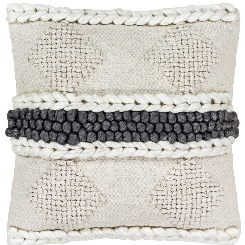 """18"""" Beige and Black Square Hand Woven Throw Pillow Cover with Knife Edge - IMAGE 1"""