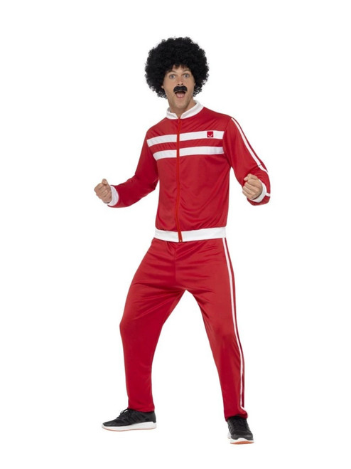 """42"""" Red and White 1980's Scouser Tracksuit Men Adult Halloween Costume - Medium - IMAGE 1"""