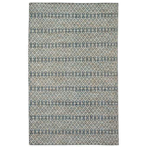 7.8' x 9.8' Blue and Beige Contemporary Rectangular Area Throw Rug - IMAGE 1