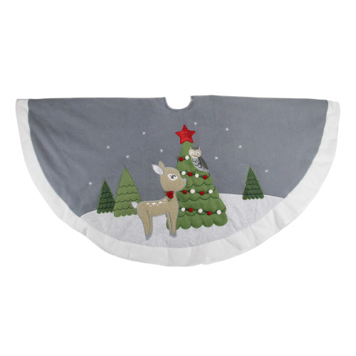 "48"" Gray and White Deer with Owl Christmas Tree Skirt - IMAGE 1"