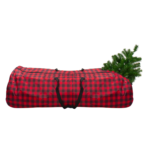 """54"""" Red and Black Plaid Rolling Tree Christmas Tree Storage Bag For Artificial Trees Up To 9ft - IMAGE 1"""