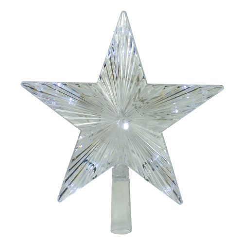 """9.5"""" Lighted Clear Mini 5 Point Star Christmas Tree Topper - Clear LED Lights - IMAGE 1"""