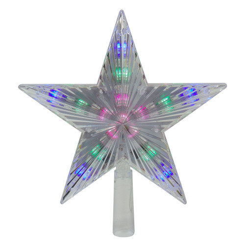 "9.5"" Lighted Clear 5 Point Star Christmas Tree Topper - Multicolor LED Lights - IMAGE 1"