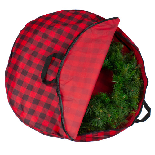 """30"""" Heavy Duty Red and Black Plaid Christmas Wreath Storage Bag with Handles - IMAGE 1"""