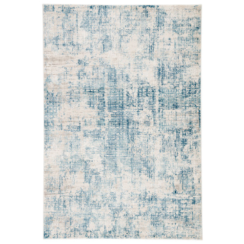 5' x 7.5' Ivory and Blue Rectangular Area Throw Rug - IMAGE 1