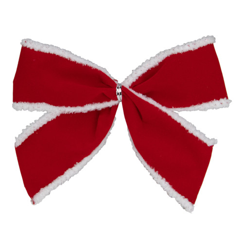 """Pack of 6 Red Velveteen Bows with White Edges Christmas Decorations 5"""" - IMAGE 1"""