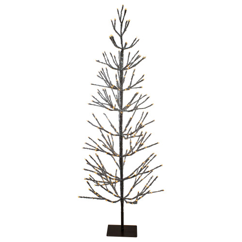 6' Pre-Lit LED Brown Artificial Christmas Tree with Icicle Lights- Clear Lights - IMAGE 1