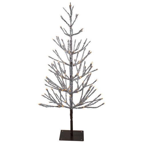 4' Pre-Lit LED Brown Artificial Christmas Tree with Icicle Lights- Clear Lights - IMAGE 1