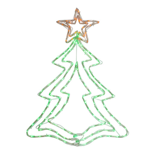 "25"" LED Green and Orange Rope Light Christmas Tree Window Decoration - IMAGE 1"