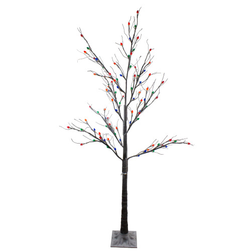 6' Pre-Lit LED Brown Artificial Christmas Tree- Multi-Colored lights - IMAGE 1