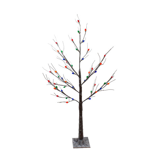 4' Pre-Lit LED Brown Artificial Christmas Tree- Multi-Colored lights - IMAGE 1