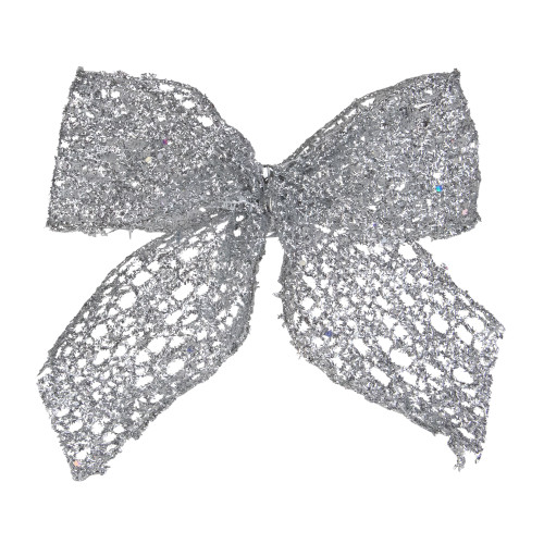 """Pack of 6 Sheer Silver Glittery Christmas Bow Decorations 5"""" - IMAGE 1"""