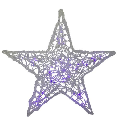 "24"" Gray and Purple Lighted LED Color Changing  Spun Glass Hanging Star Christmas Decoration - IMAGE 1"
