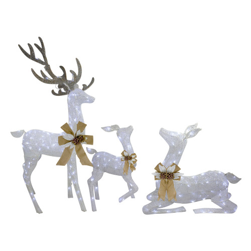 "3pc White Deer Family LED Twinkle Outdoor Christmas Yard Art Display 40"" - IMAGE 1"