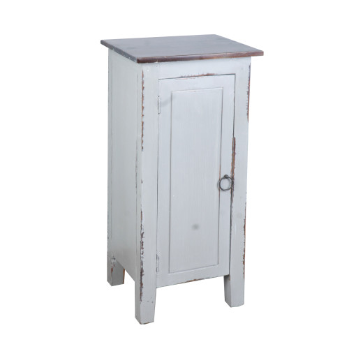 """31"""" Antique Gray and Brown One Door Accent Cabinet - IMAGE 1"""
