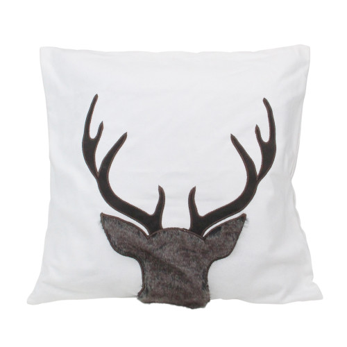 17.5 White and Brown Faux Fur Reindeer Throw Pillow Cover - IMAGE 1