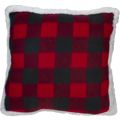 19.5 Black and Red Buffalo Plaid Throw Pillow with Sherpa Backing - IMAGE 1