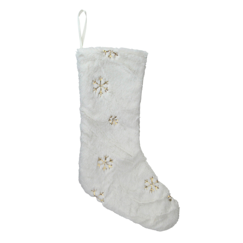 """18"""" White Faux Fur Christmas Stocking with Gold Sequined Snowflakes - IMAGE 1"""