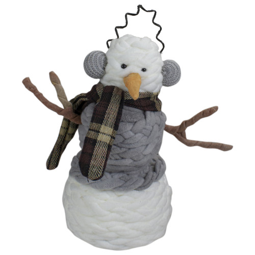 "11"" Gray and White Knit Cotton Snowman Decoration - IMAGE 1"