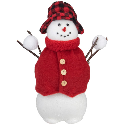 "13.25"" Snowman with Buffalo Plaid Hat Christmas Figure - IMAGE 1"