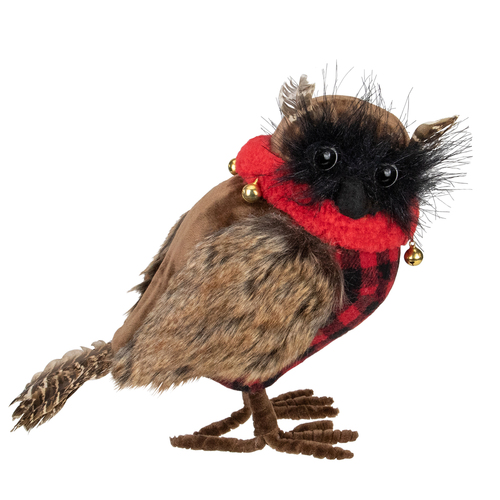 "10"" Owl with Buffalo Plaid Christmas Figure - IMAGE 1"