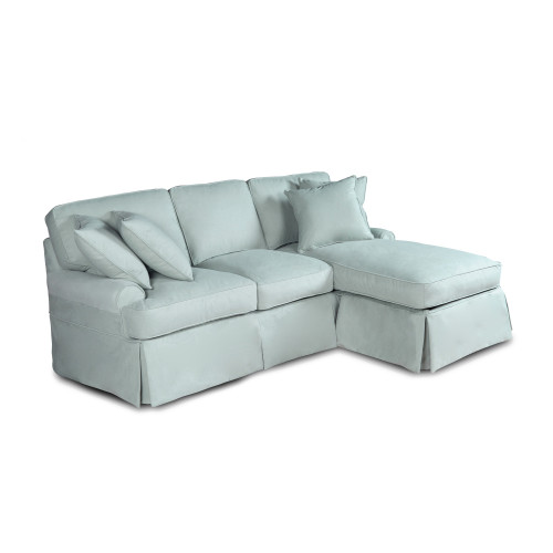 Performance Fabric  Ocean Blue Slipcover for T-Cushion Sofa with Chaise - IMAGE 1