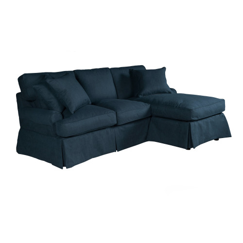 """85"""" Performance Fabric Navy Blue Slipcover for T-Cushion Sectional Sofa with Chaise - IMAGE 1"""