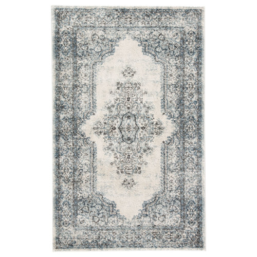 2' x 3' Blue and Ivory Traditional Rectangular Area Throw Rug - IMAGE 1