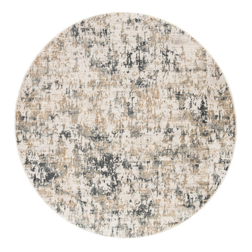 6' Gray and Beige Modern Round Area Throw Rug - IMAGE 1