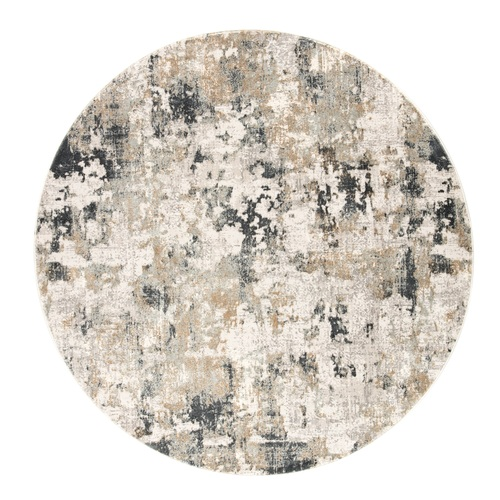 6' White and Gray Abstract Round Area Throw Rug - IMAGE 1