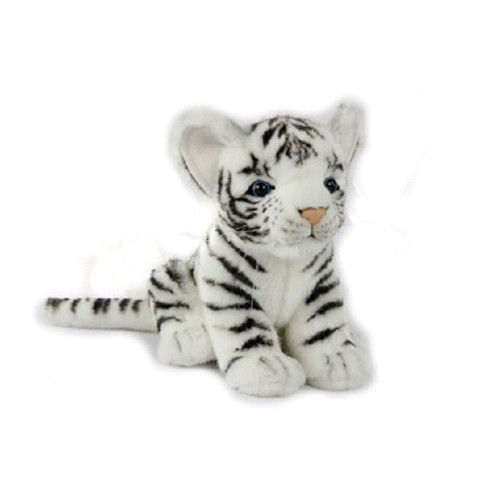 "Set of 4 Handcrafted White Tiger Cub Stuffed Animals 6.6"" - IMAGE 1"
