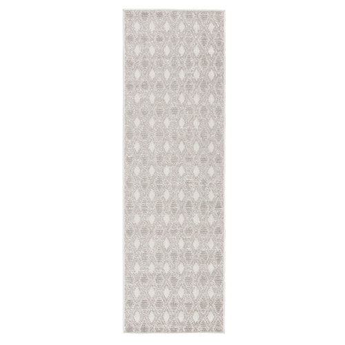 2.5' x 8' Gray and White Trellis Outdoor Rectangular Area Throw Rug Runner - IMAGE 1