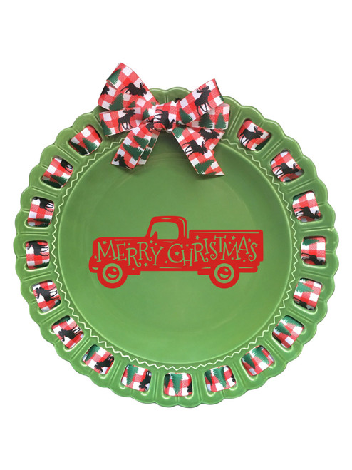 """12"""" Round Green Ceramic Ribbon Plate; Plaid Ribbon; Red Merry Christmas Truck - IMAGE 1"""