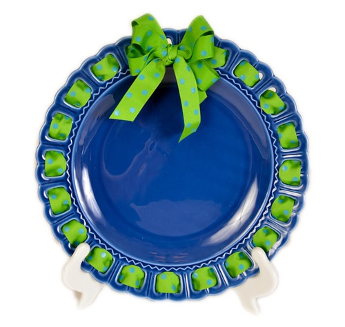 """12"""" Round Blue Ceramic Ribbon Plate with Green and Blue Polka-Dotted Ribbon - IMAGE 1"""