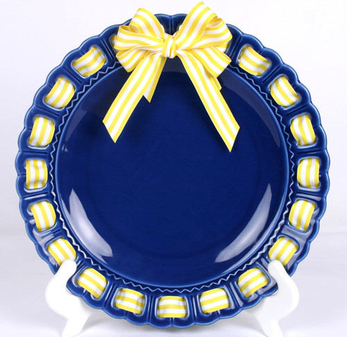 """12"""" Round Dark Blue Ribbon Plate with Yellow and White Striped Ribbon - IMAGE 1"""