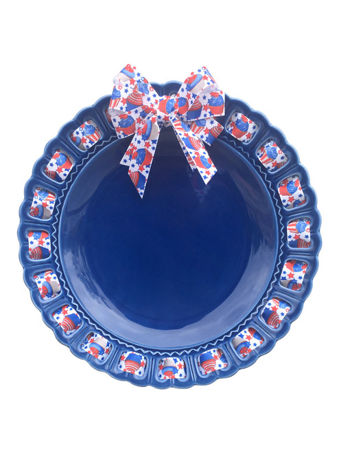 """12"""" Round Blue Ceramic Ribbon Plate with Red White and Blue Ribbon - IMAGE 1"""
