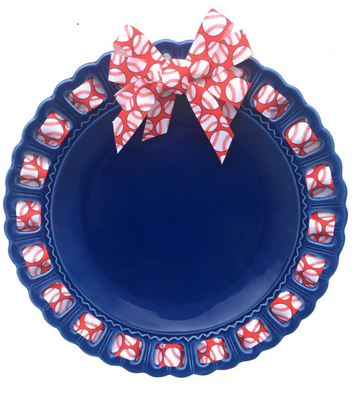 """12"""" Round Blue Ceramic Ribbon Plate with Red and White Baseball Ribbon - IMAGE 1"""