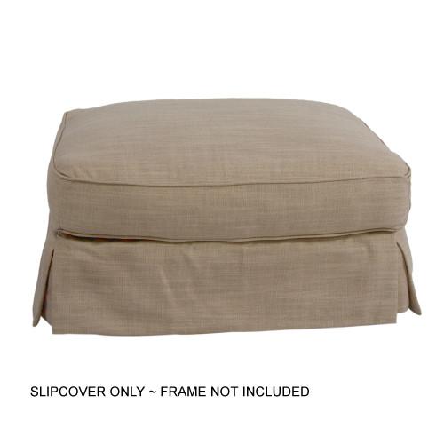 "33"" Neutral Brown Sunset Trading Americana Box Cushion Ottoman Slipcover Linen - IMAGE 1"