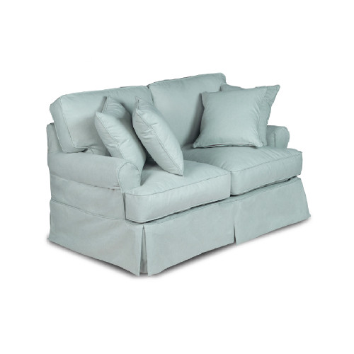 """60"""" Cyan Blue T-cushion Loveseat Cover with Back and Seat Cushion Cover and Pillow Covers - IMAGE 1"""