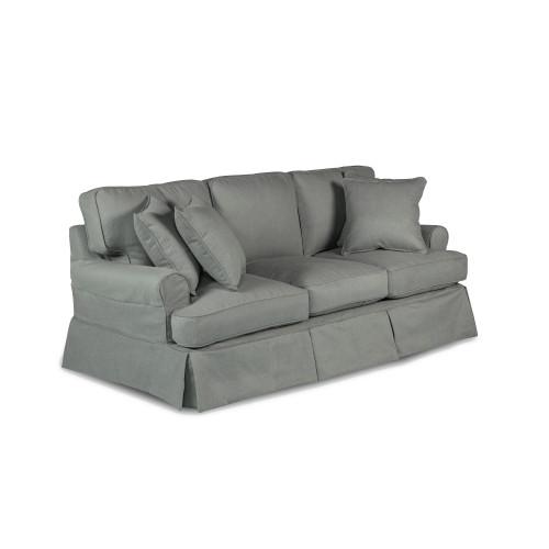 "Set of 11 Gray Sunset Trading Horizon T-Cushion Sofa Slipcover Performance Fabric 85"" - IMAGE 1"