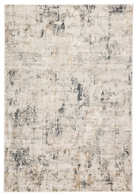10' x 14' Ivory and Gray Abstract Rectangular Area Throw Rug - IMAGE 1