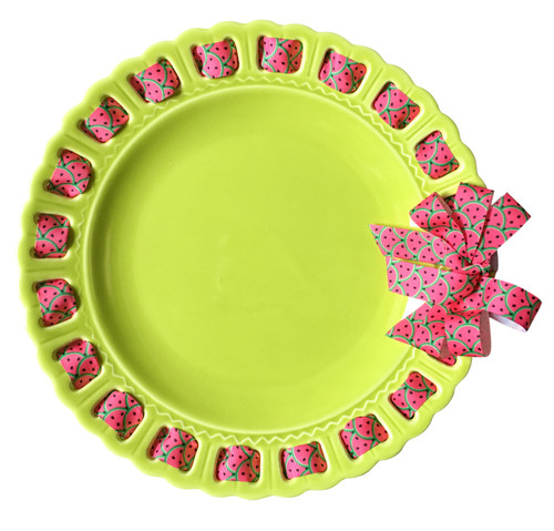 """12"""" Round Lime Green Ceramic Ribbon Plate with Watermelon Ribbon - IMAGE 1"""