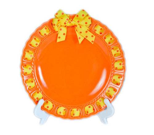 "12"" Round Orange Ceramic Ribbon Plate with Yellow and Orange Polka-Dotted Ribbon - IMAGE 1"