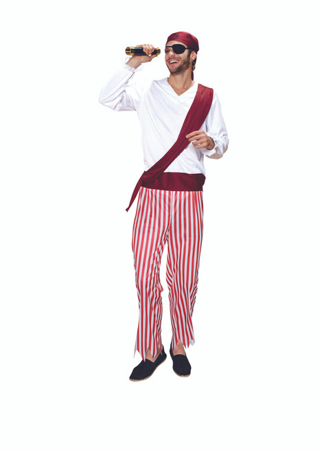 Red and White Pirate Men Adult Halloween Costume - Small - IMAGE 1