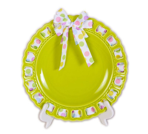 "12"" Round Lime Green Ribbon Plate with White and Pastel Polka Dotted Ribbon - IMAGE 1"