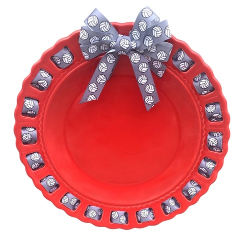 """12"""" Round Red Ceramic Ribbon Plate with Grey Volley Ball Ribbon - IMAGE 1"""