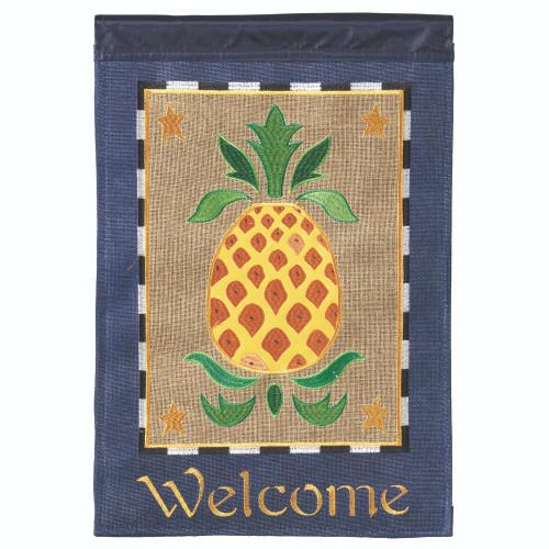 "Brown and Yellow Pineapple Printed Rectangular Garden Flag 18"" x 13"" - IMAGE 1"
