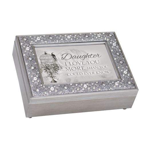 """8"""" Gray and Ivory Daughter Love You More Music Box - IMAGE 1"""